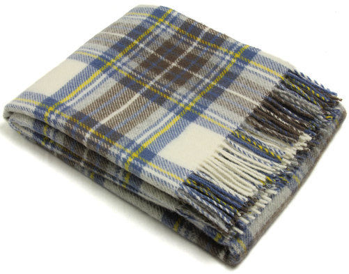 Muted Blue Stewart Pure Wool Plaid