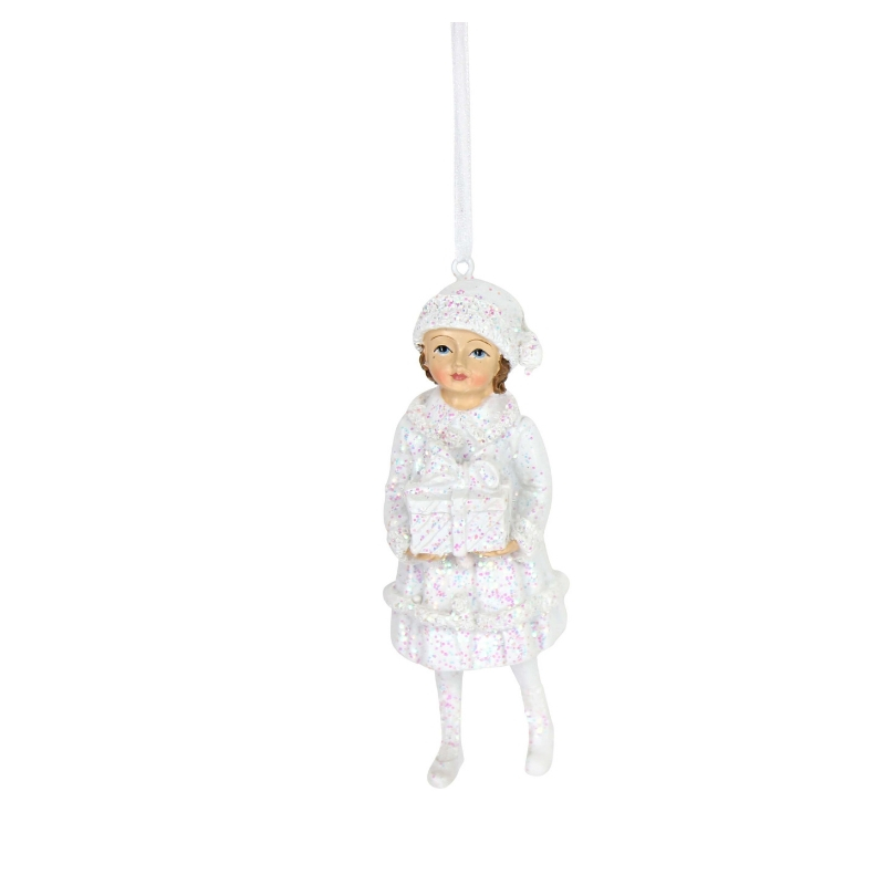 Frosted Rose Garden Child Ornament Gisela Graham