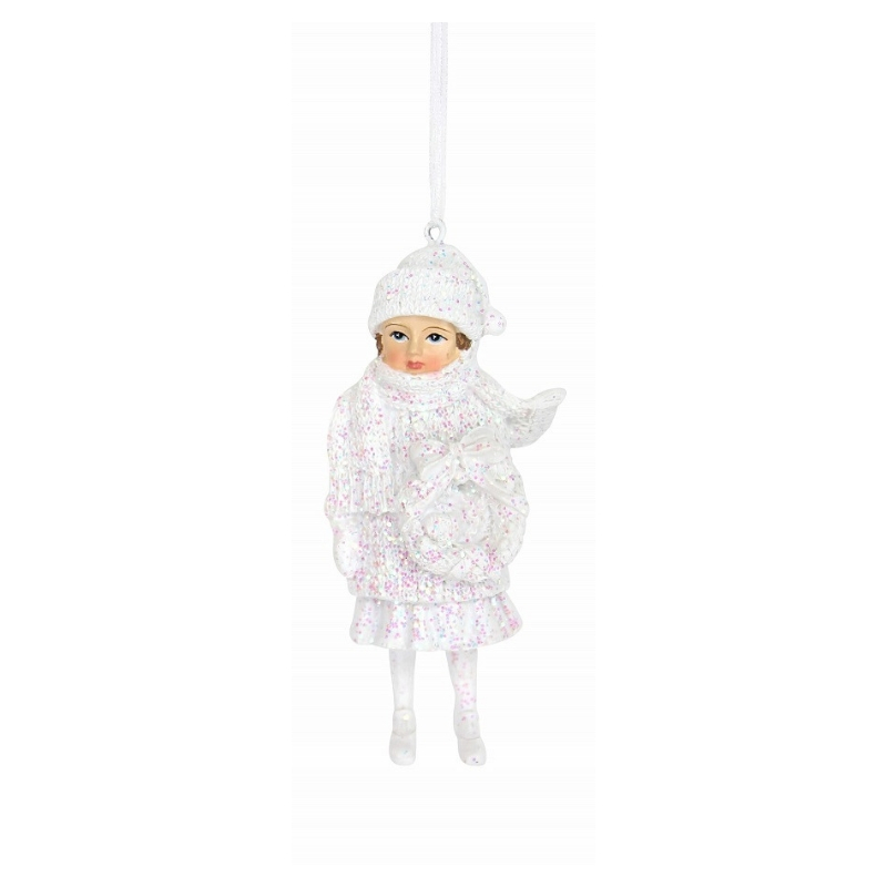 Frosted Rose Garden Child Ornament Gisela Graham12878-2