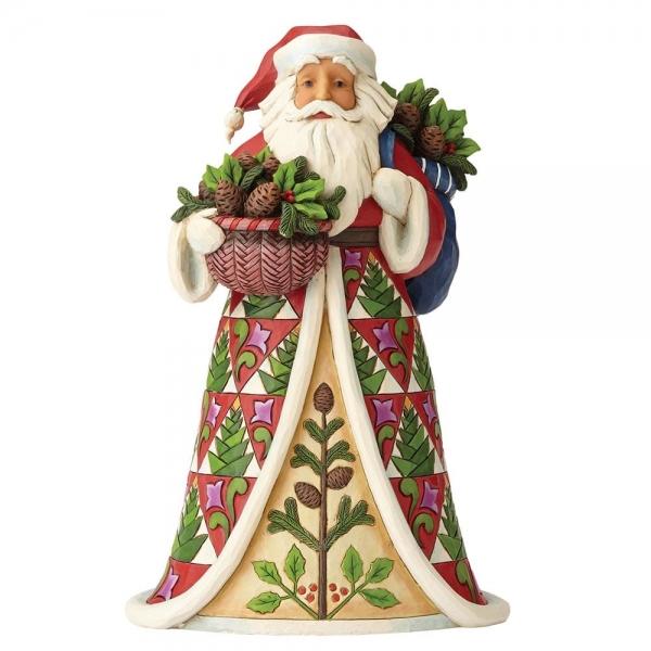 Santa with Pinecone Basket 4058785 Jim Shore